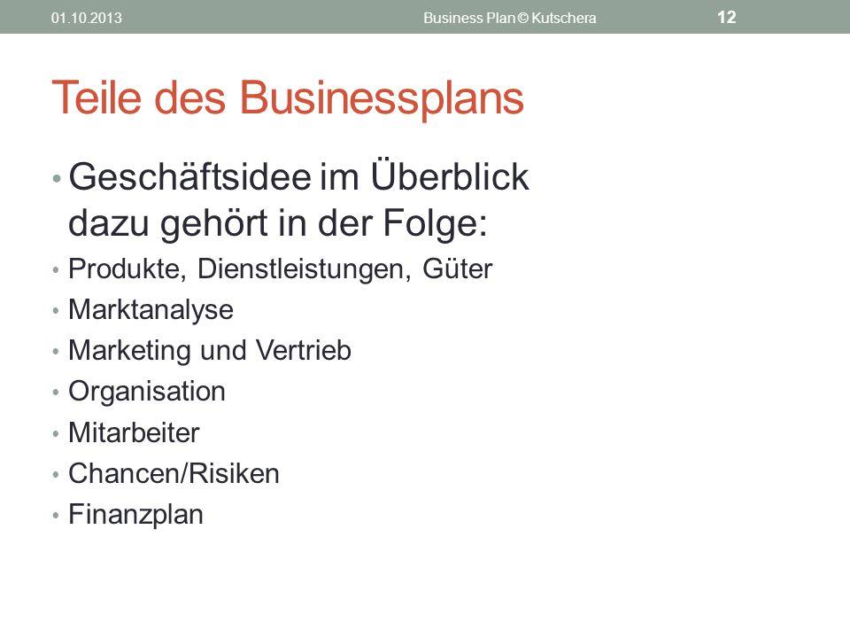 Teile des Businessplans Geschäftsidee im Überblick dazu gehört in der Folge: Produkte, Dienstleistungen, Güter Marktanalyse Marketing und Vertrieb Org