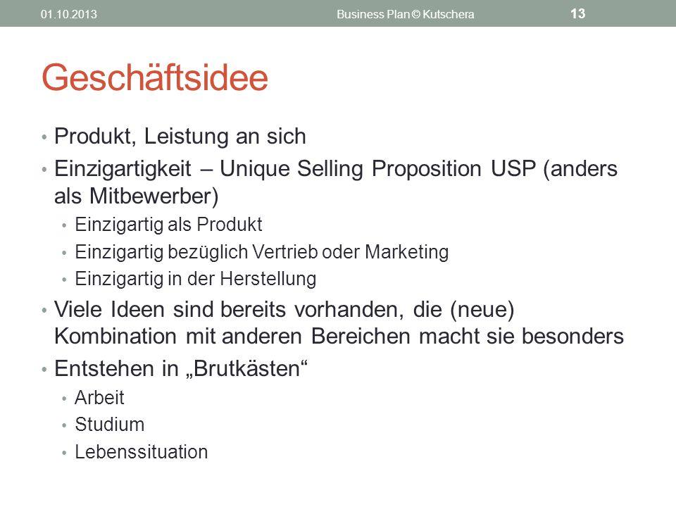 Geschäftsidee Produkt, Leistung an sich Einzigartigkeit – Unique Selling Proposition USP (anders als Mitbewerber) Einzigartig als Produkt Einzigartig