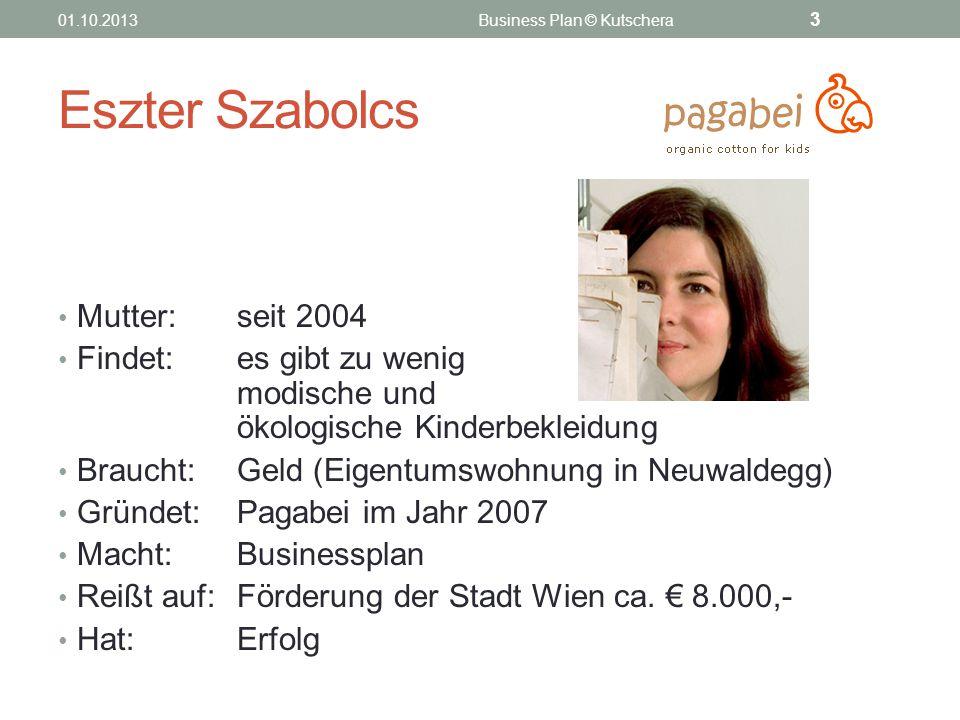 Eszter Szabolcs Mutter: seit 2004 Findet: es gibt zu wenig modische und ökologische Kinderbekleidung Braucht: Geld (Eigentumswohnung in Neuwaldegg) Gr