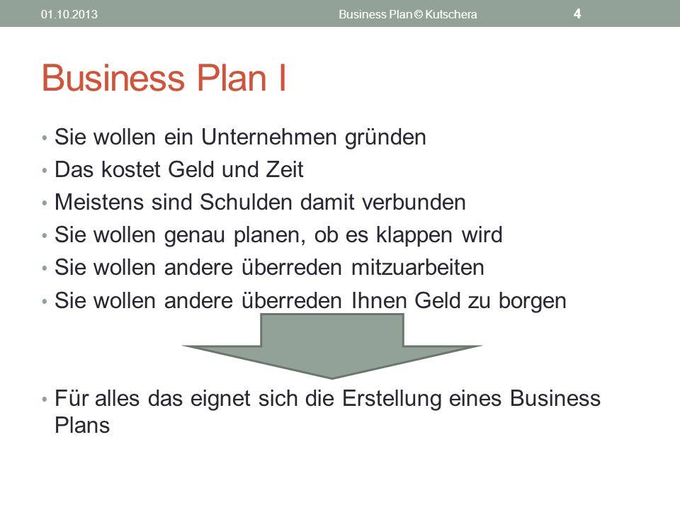 Business Plan I Sie wollen ein Unternehmen gründen Das kostet Geld und Zeit Meistens sind Schulden damit verbunden Sie wollen genau planen, ob es klap