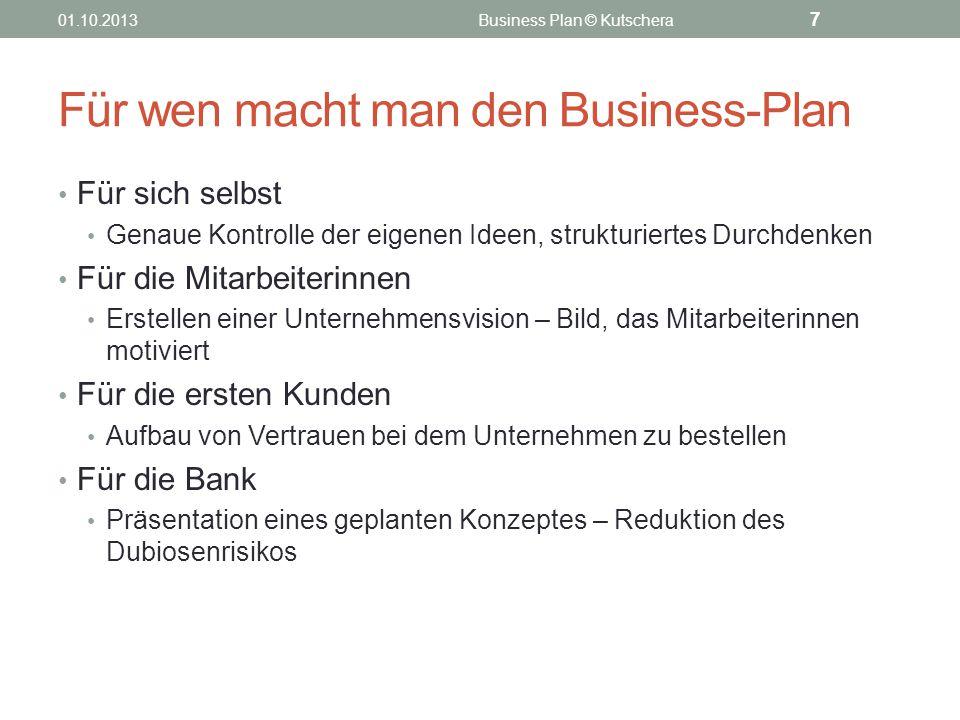 Für wen macht man den Business-Plan Für sich selbst Genaue Kontrolle der eigenen Ideen, strukturiertes Durchdenken Für die Mitarbeiterinnen Erstellen