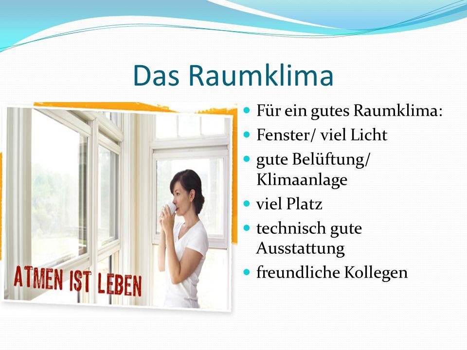 Das Raumklima Für ein gutes Raumklima: Fenster/ viel Licht gute Belüftung/ Klimaanlage viel Platz technisch gute Ausstattung freundliche Kollegen