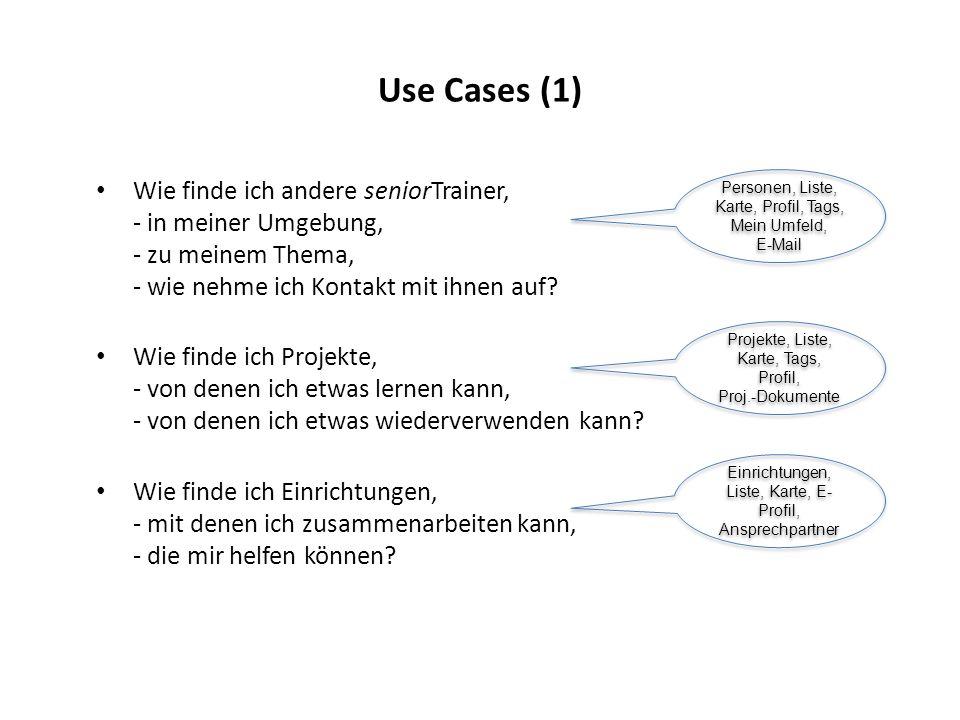 Use Cases (1) Wie finde ich andere seniorTrainer, - in meiner Umgebung, - zu meinem Thema, - wie nehme ich Kontakt mit ihnen auf? Wie finde ich Projek