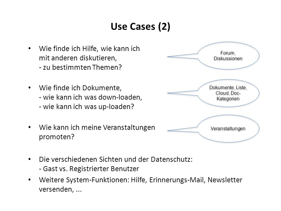 Use Cases (2) Wie finde ich Hilfe, wie kann ich mit anderen diskutieren, - zu bestimmten Themen? Wie finde ich Dokumente, - wie kann ich was down-load