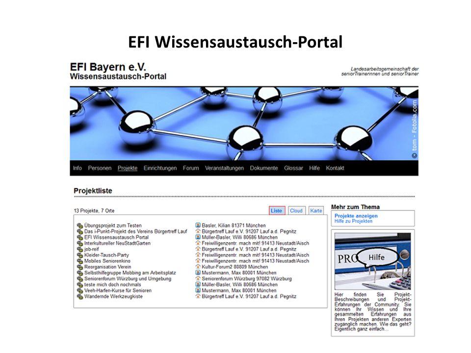 EFI Wissensaustausch-Portal Wie der Erfahrungsaustausch zwischen seniorTrainern durch ein Internet Portal gefördert werden kann. Präsentation des Port