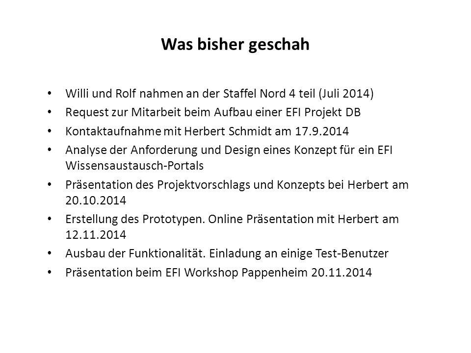 Was bisher geschah Willi und Rolf nahmen an der Staffel Nord 4 teil (Juli 2014) Request zur Mitarbeit beim Aufbau einer EFI Projekt DB Kontaktaufnahme