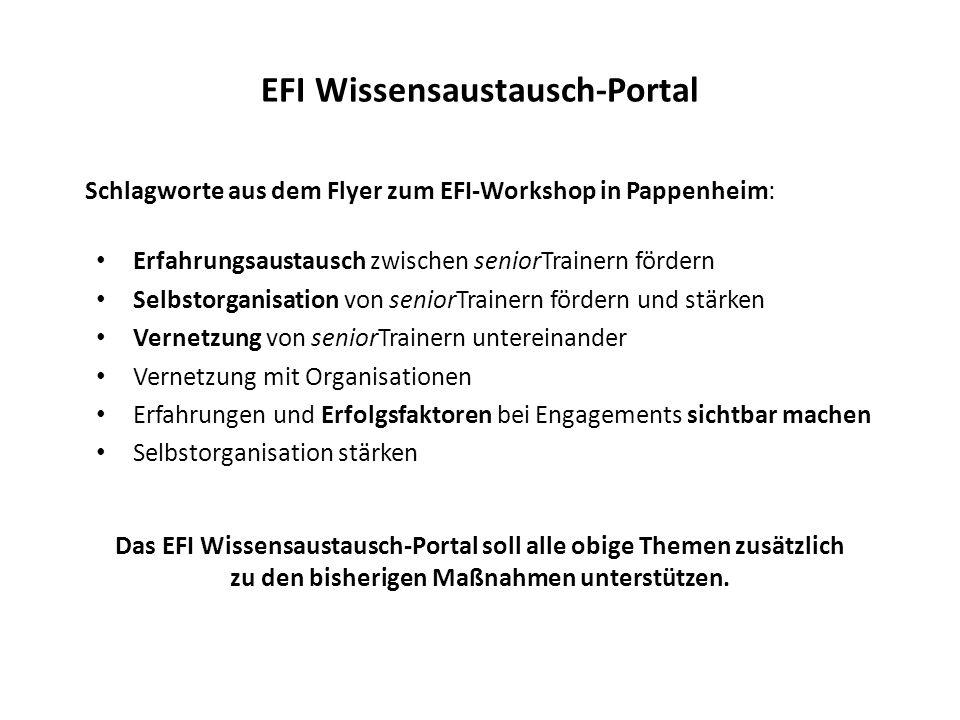 EFI Wissensaustausch-Portal Schlagworte aus dem Flyer zum EFI-Workshop in Pappenheim: Erfahrungsaustausch zwischen seniorTrainern fördern Selbstorgani