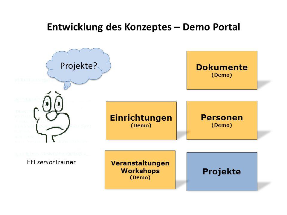 Entwicklung des Konzeptes – Demo Portal EFI seniorTrainer Projekte? Personen (Demo) Projekte Einrichtungen (Demo) Dokumente (Demo) Veranstaltungen Wor