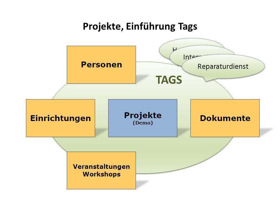 TAGS Projekte, Einführung Tags Personen Projekte (Demo) EinrichtungenDokumente Veranstaltungen Workshops Hospizhelfer Internetcafe Reparaturdienst