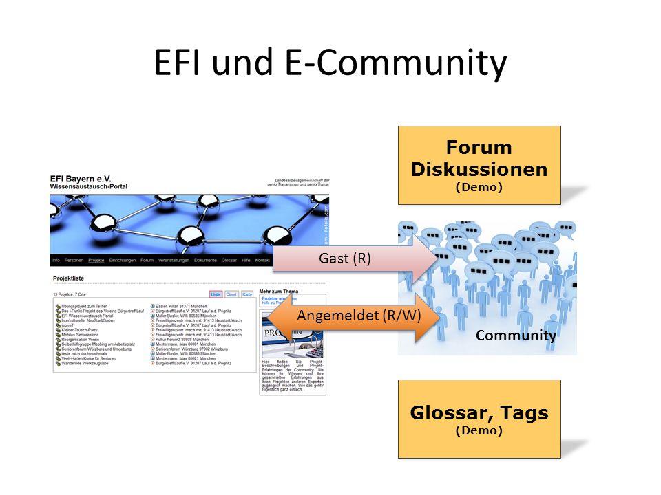 EFI und E-Community Community Gast (R) Angemeldet (R/W) Glossar, Tags (Demo) Forum Diskussionen (Demo)