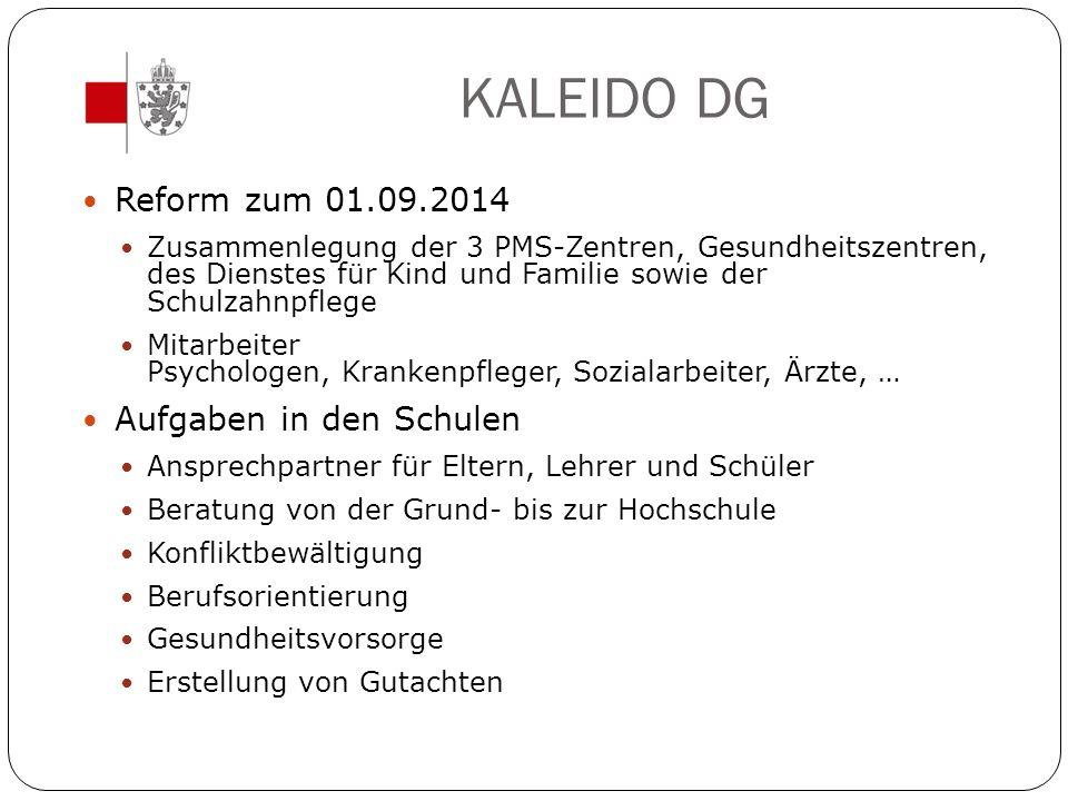 KALEIDO DG Reform zum 01.09.2014 Zusammenlegung der 3 PMS-Zentren, Gesundheitszentren, des Dienstes für Kind und Familie sowie der Schulzahnpflege Mit
