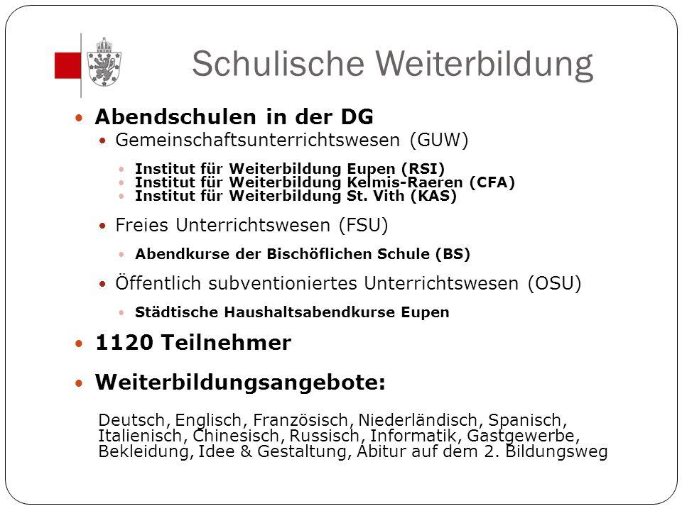 Schulische Weiterbildung Abendschulen in der DG Gemeinschaftsunterrichtswesen (GUW) Institut für Weiterbildung Eupen (RSI) Institut für Weiterbildung