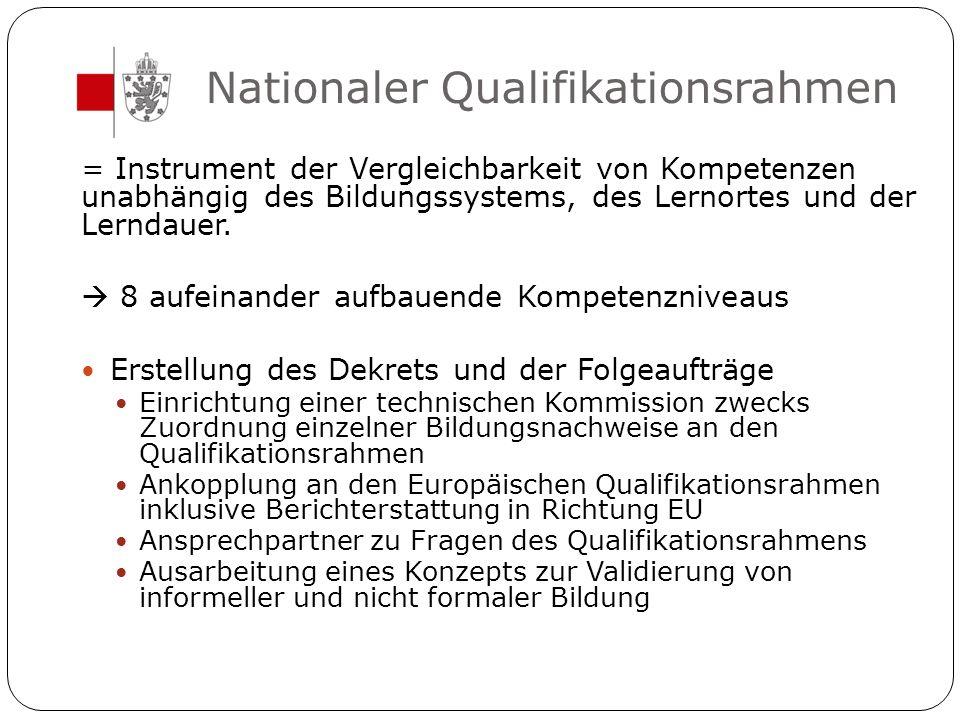 Nationaler Qualifikationsrahmen = Instrument der Vergleichbarkeit von Kompetenzen unabhängig des Bildungssystems, des Lernortes und der Lerndauer.  8