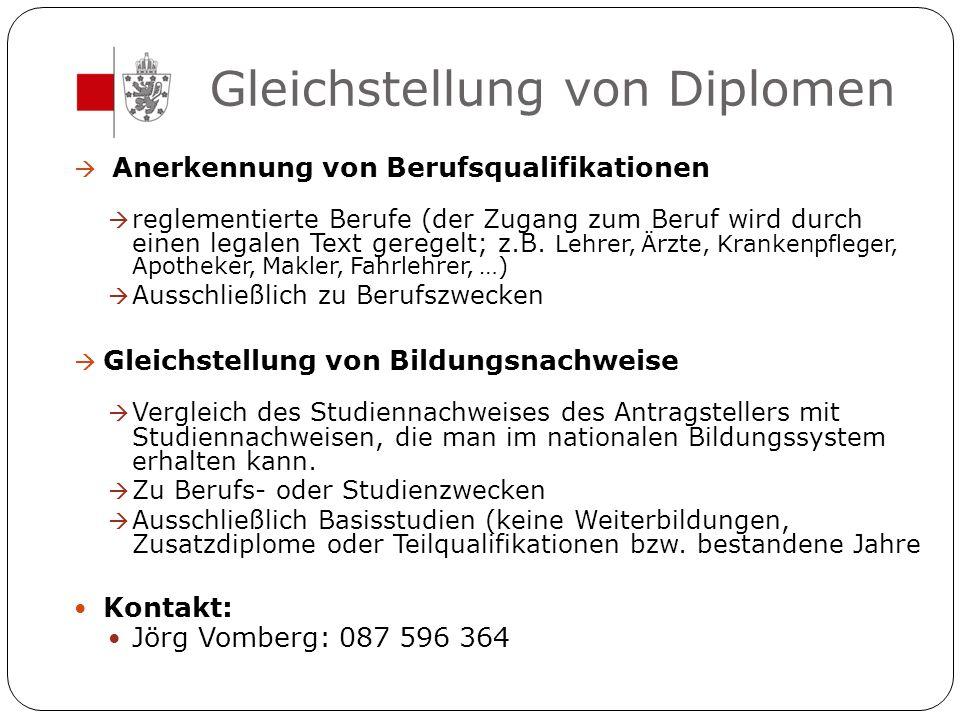Gleichstellung von Diplomen  Anerkennung von Berufsqualifikationen  reglementierte Berufe (der Zugang zum Beruf wird durch einen legalen Text gerege