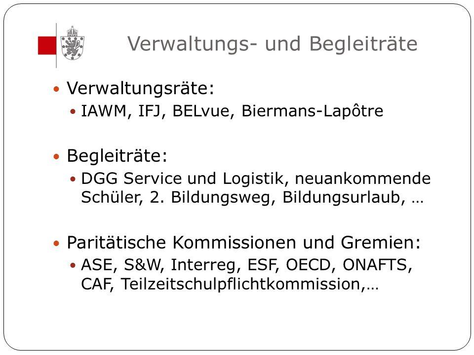 Verwaltungs- und Begleiträte Verwaltungsräte: IAWM, IFJ, BELvue, Biermans-Lapôtre Begleiträte: DGG Service und Logistik, neuankommende Schüler, 2. Bil