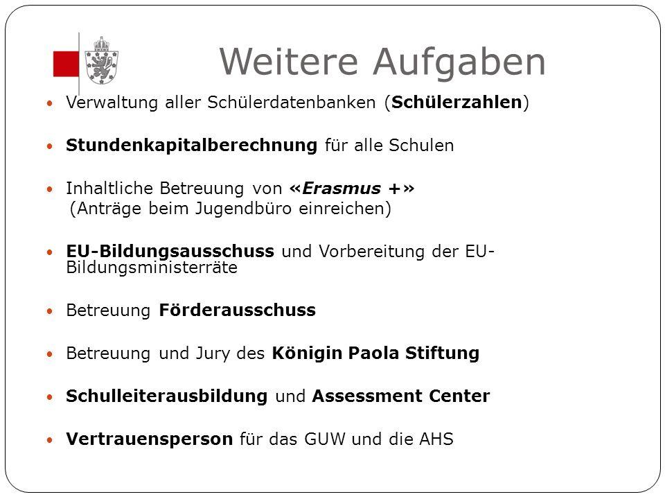 Weitere Aufgaben Verwaltung aller Schülerdatenbanken (Schülerzahlen) Stundenkapitalberechnung für alle Schulen Inhaltliche Betreuung von «Erasmus +» (