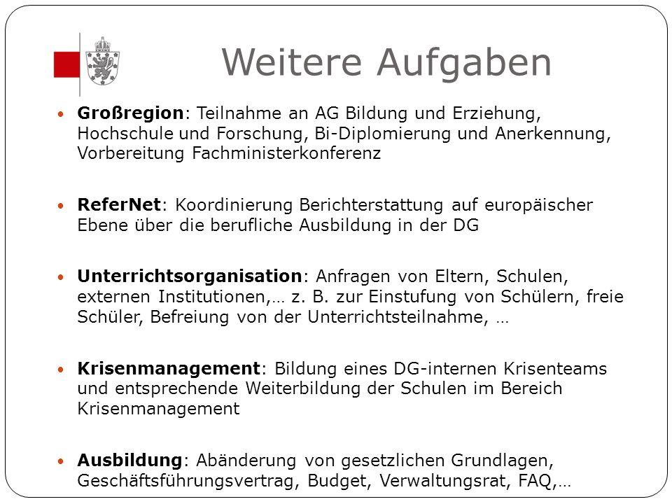 Weitere Aufgaben Großregion: Teilnahme an AG Bildung und Erziehung, Hochschule und Forschung, Bi-Diplomierung und Anerkennung, Vorbereitung Fachminist