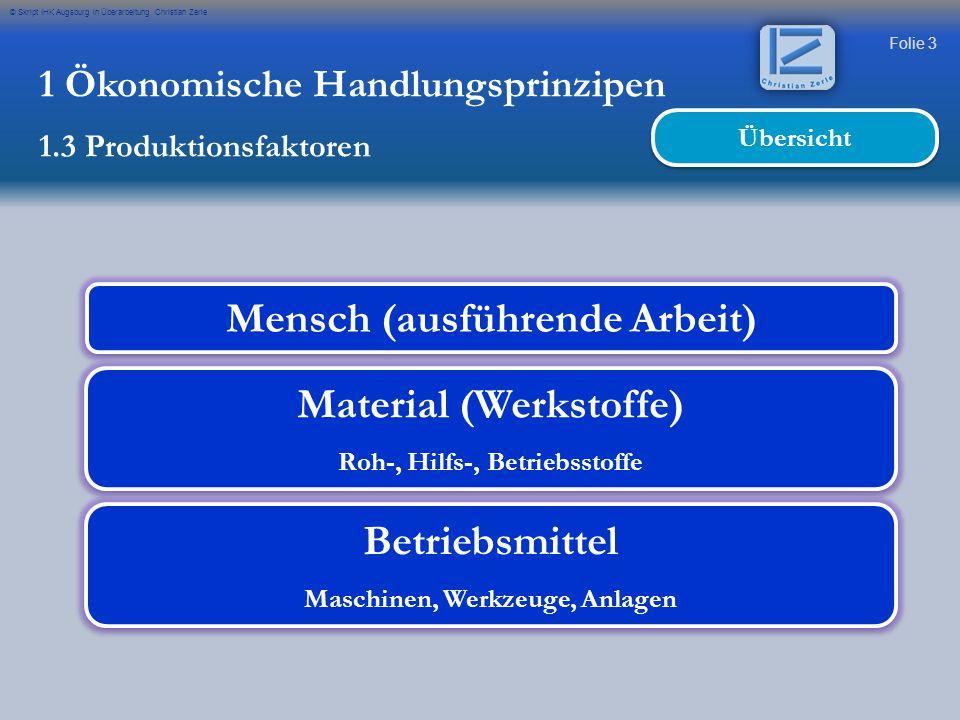 Folie 3 © Skript IHK Augsburg in Überarbeitung Christian Zerle 1 Ökonomische Handlungsprinzipen 1.3 Produktionsfaktoren Mensch (ausführende Arbeit) Ma