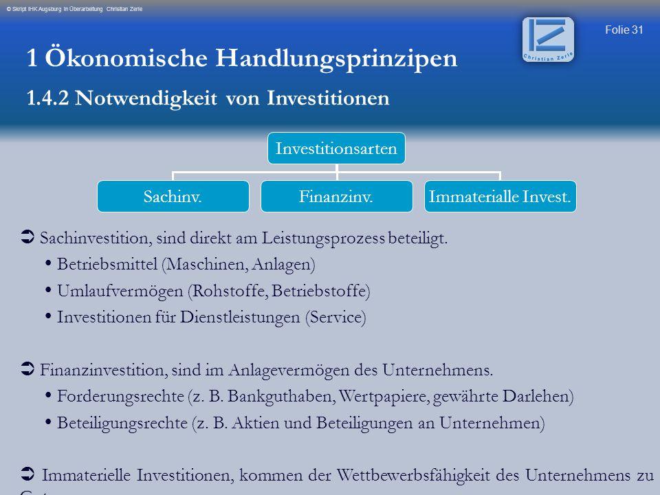 Folie 31 © Skript IHK Augsburg in Überarbeitung Christian Zerle Investitionsarten Sachinv.Finanzinv.Immaterialle Invest.  Sachinvestition, sind direk