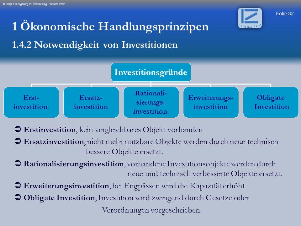 Folie 32 © Skript IHK Augsburg in Überarbeitung Christian Zerle Investitionsgründe Erst- investition. Ersatz- investition Rationali- sierungs- investi