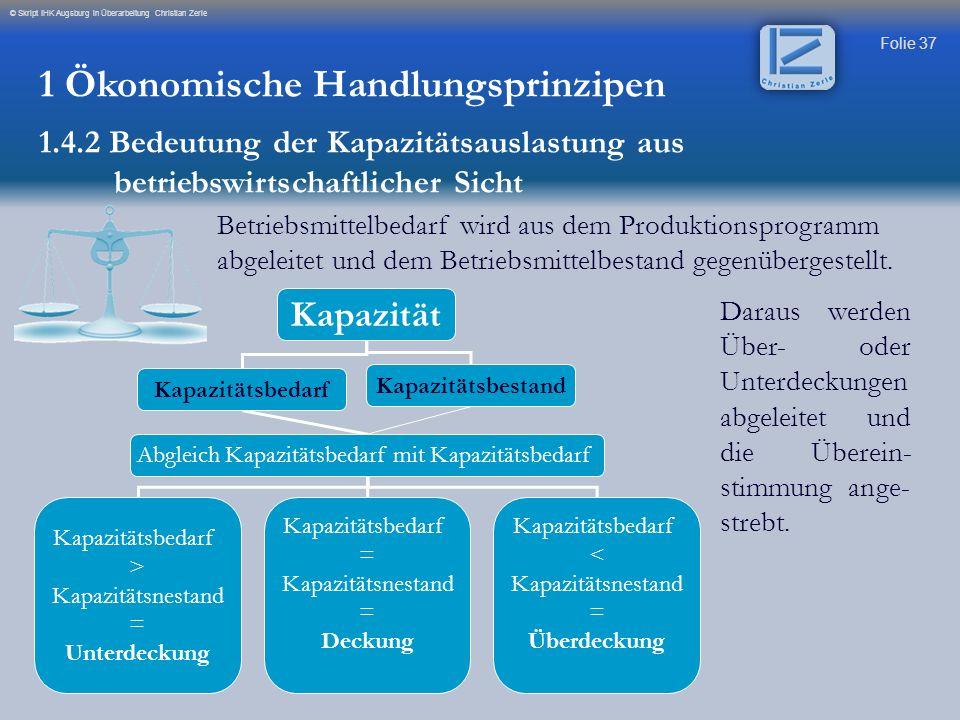 Folie 37 © Skript IHK Augsburg in Überarbeitung Christian Zerle Betriebsmittelbedarf wird aus dem Produktionsprogramm abgeleitet und dem Betriebsmitte