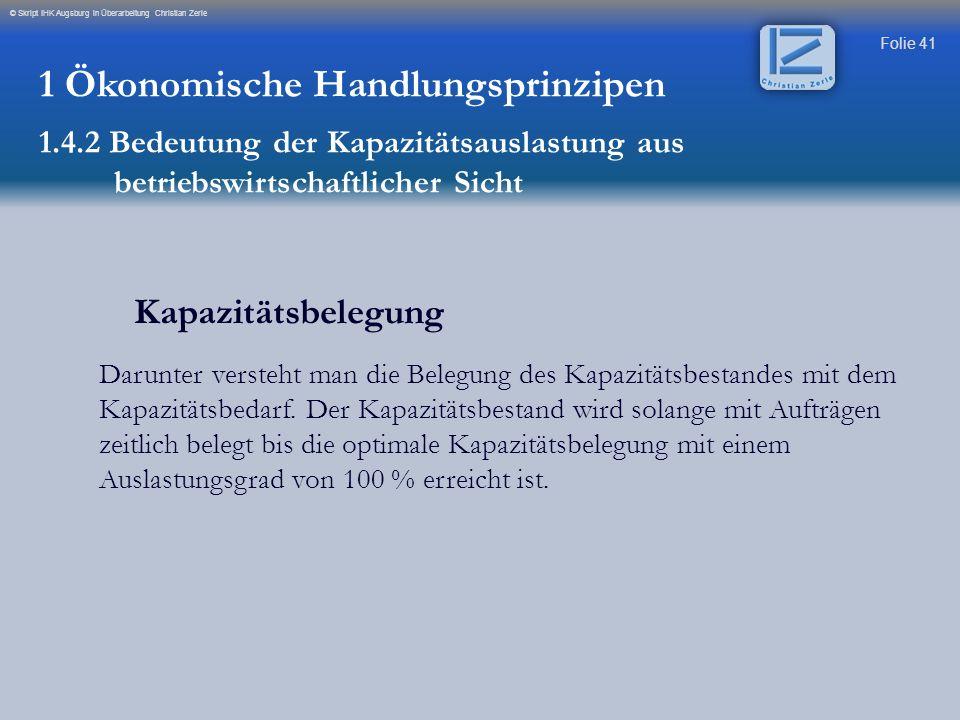 Folie 41 © Skript IHK Augsburg in Überarbeitung Christian Zerle Kapazitätsbelegung Darunter versteht man die Belegung des Kapazitätsbestandes mit dem