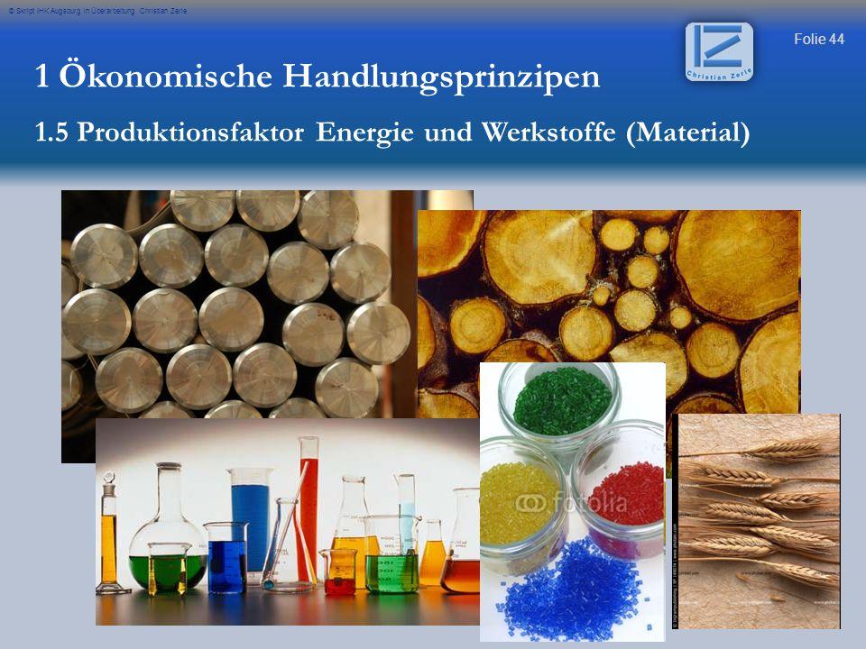 Folie 44 © Skript IHK Augsburg in Überarbeitung Christian Zerle 1 Ökonomische Handlungsprinzipen 1.5 Produktionsfaktor Energie und Werkstoffe (Materia