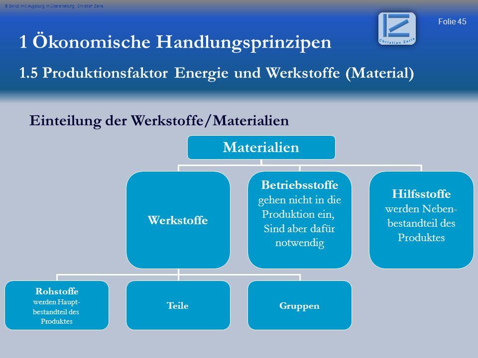 Folie 45 © Skript IHK Augsburg in Überarbeitung Christian Zerle Einteilung der Werkstoffe/Materialien Materialien Werkstoffe Betriebsstoffe gehen nich