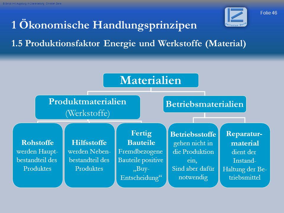 Folie 46 © Skript IHK Augsburg in Überarbeitung Christian Zerle Materialien Produktmaterialien (Werkstoffe) Betriebsmaterialien Rohstoffe werden Haupt