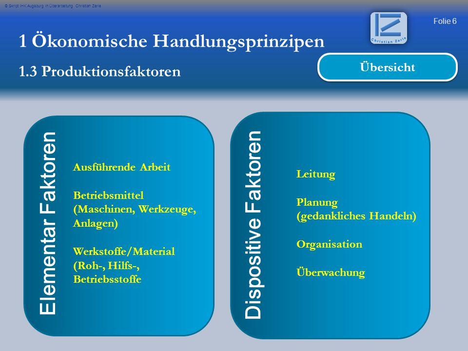 Folie 6 © Skript IHK Augsburg in Überarbeitung Christian Zerle Elementar Faktoren Ausführende Arbeit Betriebsmittel (Maschinen, Werkzeuge, Anlagen) We