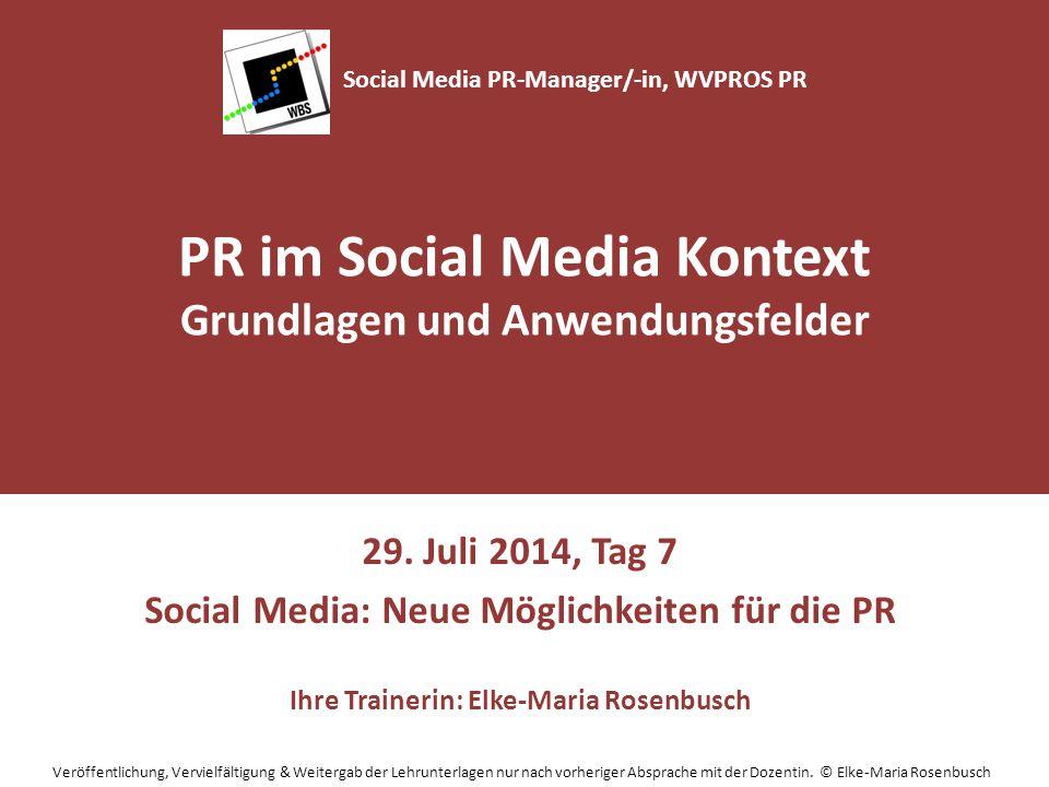 Agenda Social Media: neue Möglichkeiten für die PR Engagement für Unternehmen im Social Web: Chancen und Risiken für Unternehmen und Organisationen Gruppenarbeit – Einführung Social Media-Kommunikation im Unternehmen