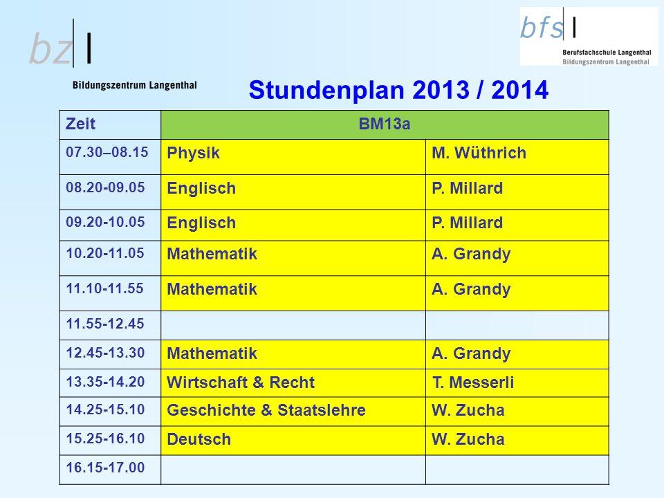 Stundenplan 2013 / 2014 ZeitBM13a 07.30–08.15 PhysikM. Wüthrich 08.20-09.05 EnglischP. Millard 09.20-10.05 EnglischP. Millard 10.20-11.05 MathematikA.