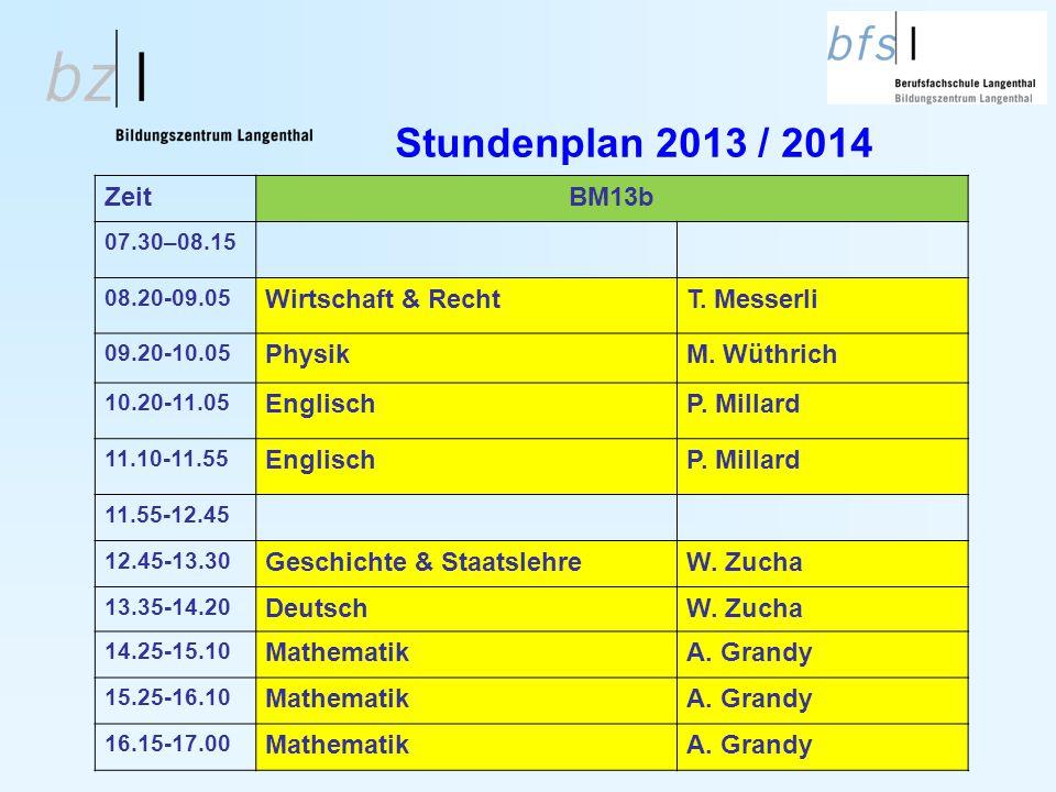 Stundenplan 2013 / 2014 ZeitBM13b 07.30–08.15 08.20-09.05 Wirtschaft & RechtT. Messerli 09.20-10.05 PhysikM. Wüthrich 10.20-11.05 EnglischP. Millard 1