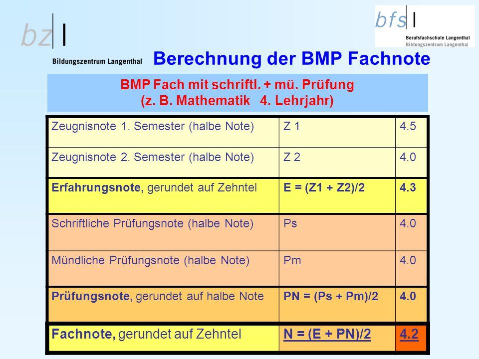 BMP Fach mit schriftl. + mü. Prüfung (z. B. Mathematik 4. Lehrjahr) Zeugnisnote 1. Semester (halbe Note)Z 14.5 Zeugnisnote 2. Semester (halbe Note)Z 2
