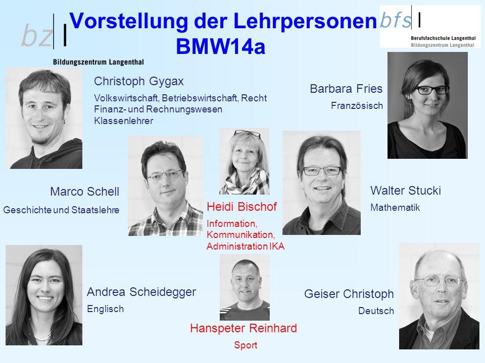 5 Vorstellung der Lehrpersonen BMW14a Geiser Christoph Deutsch Andrea Scheidegger Englisch Christoph Gygax Volkswirtschaft, Betriebswirtschaft, Recht