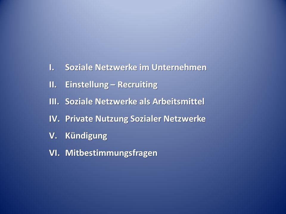 Fall 1: Arbeitgeber A informiert sich über Bewerber B im Rahmen des Bewerbungsverfahrens über Facebook, Xing und Twitter.