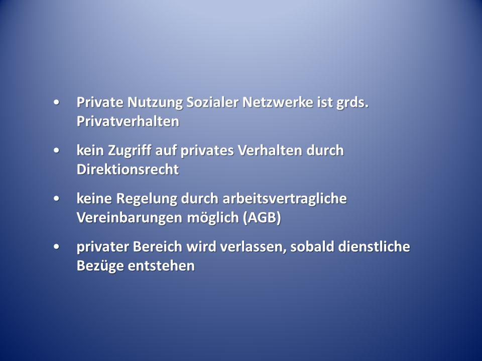 Private Nutzung Sozialer Netzwerke ist grds. PrivatverhaltenPrivate Nutzung Sozialer Netzwerke ist grds. Privatverhalten kein Zugriff auf privates Ver