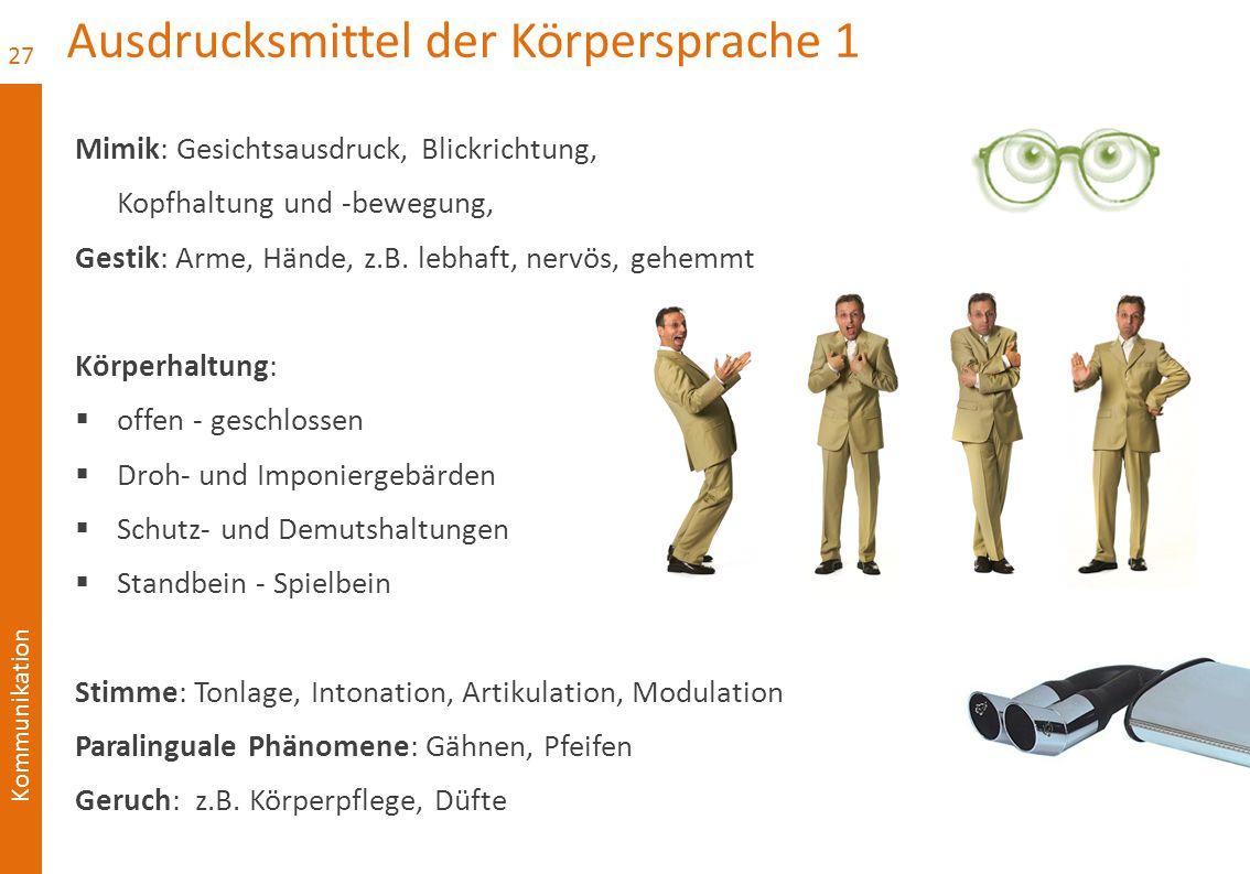 Kommunikation Ausdrucksmittel der Körpersprache 1 Mimik: Gesichtsausdruck, Blickrichtung, Kopfhaltung und -bewegung, Gestik: Arme, Hände, z.B. lebhaft