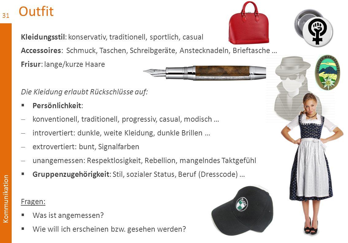 Kommunikation Outfit Kleidungsstil: konservativ, traditionell, sportlich, casual Accessoires: Schmuck, Taschen, Schreibgeräte, Anstecknadeln, Brieftas