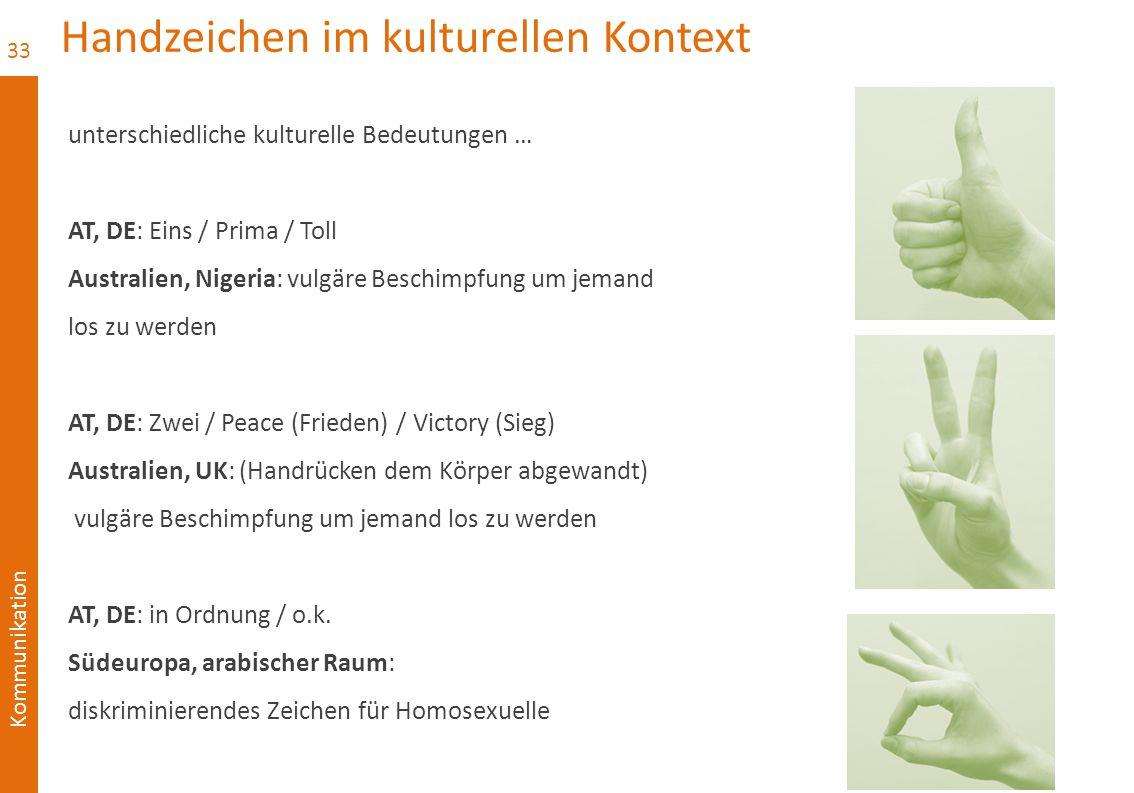 Kommunikation Handzeichen im kulturellen Kontext unterschiedliche kulturelle Bedeutungen … AT, DE: Eins / Prima / Toll Australien, Nigeria: vulgäre Be