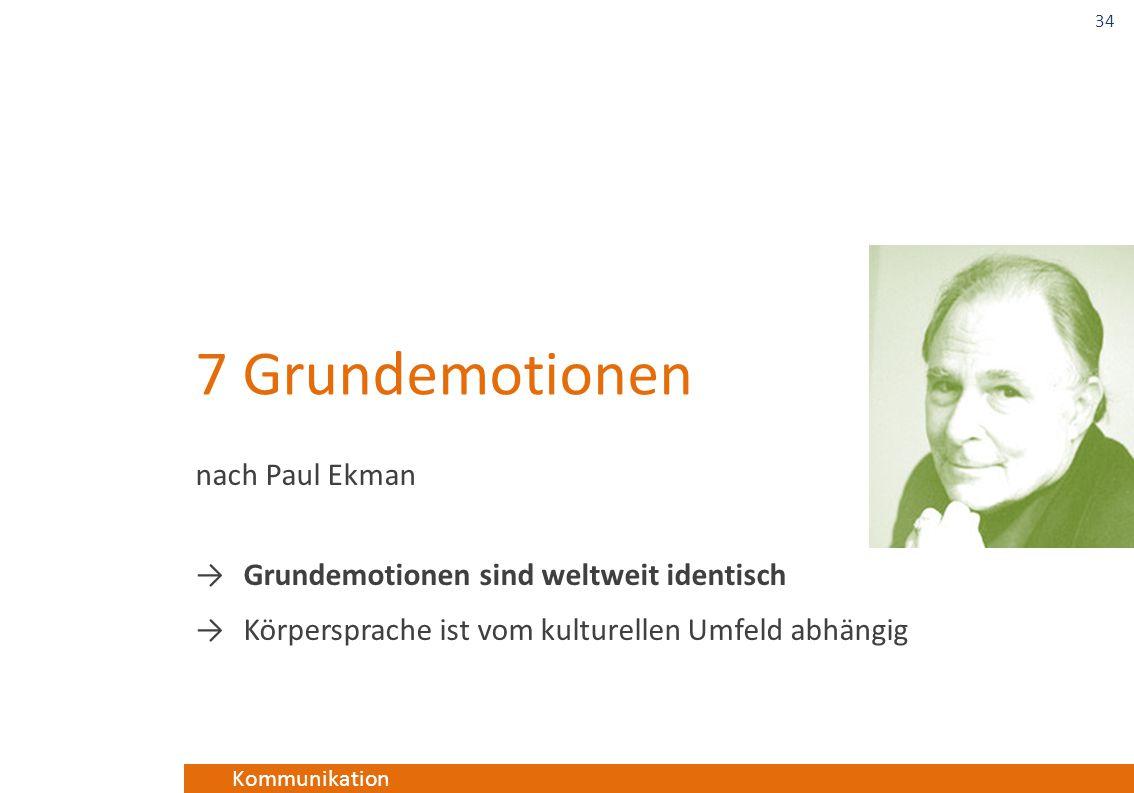 Kommunikation 7 Grundemotionen nach Paul Ekman →Grundemotionen sind weltweit identisch →Körpersprache ist vom kulturellen Umfeld abhängig 34
