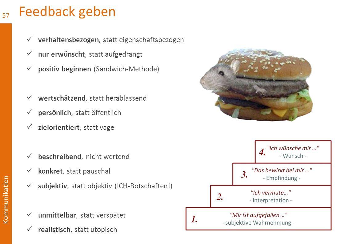Kommunikation Feedback geben verhaltensbezogen, statt eigenschaftsbezogen nur erwünscht, statt aufgedrängt positiv beginnen (Sandwich-Methode) wertsch