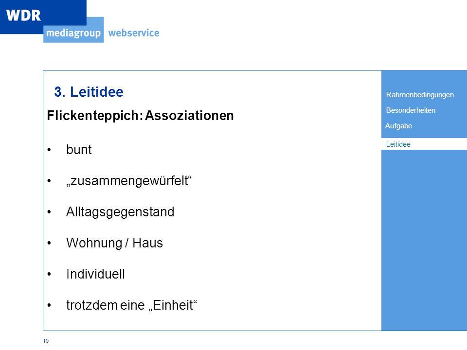 Rahmenbedingungen Besonderheiten Leitidee Aufgabe 10 Flickenteppich: Assoziationen Leitidee 3.