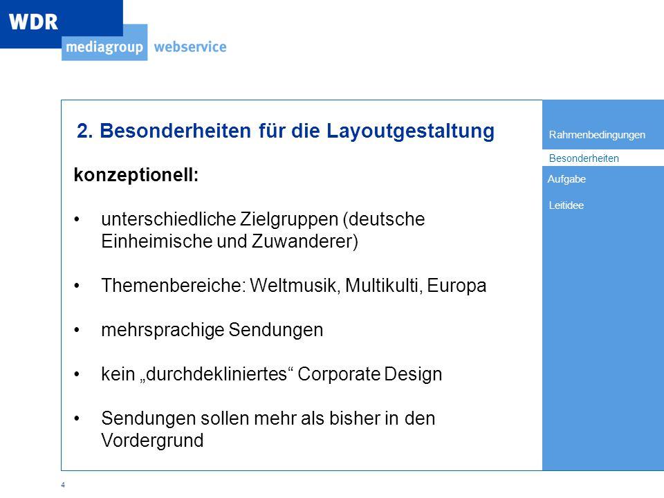 Rahmenbedingungen Besonderheiten Leitidee Aufgabe 4 2.
