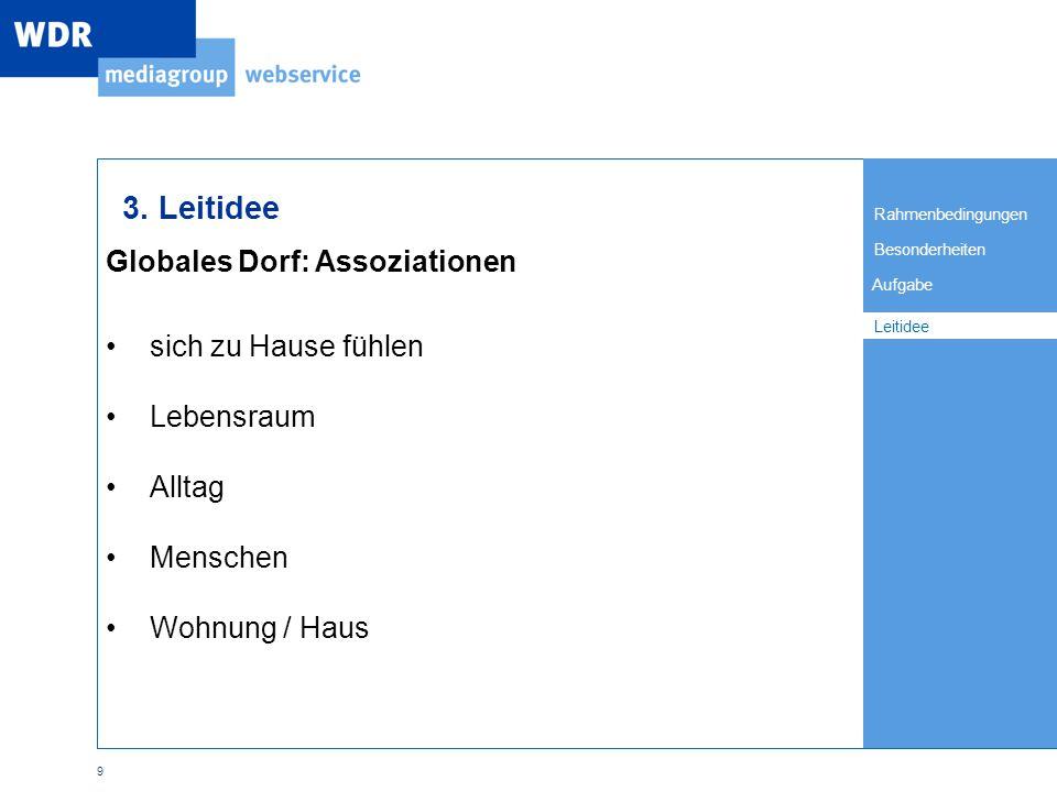 Rahmenbedingungen Besonderheiten Leitidee Aufgabe 9 Globales Dorf: Assoziationen Leitidee 3.
