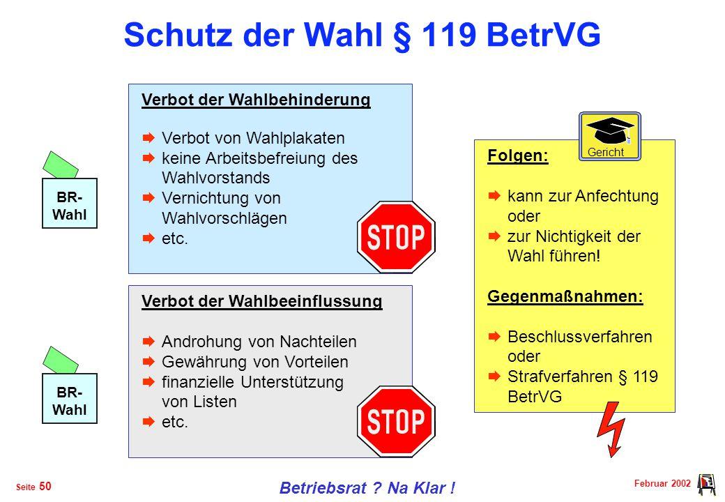 Februar 2002 Betriebsrat .Na Klar . Seite 49 Kündigungsschutz §§ 103 BetrVG u.