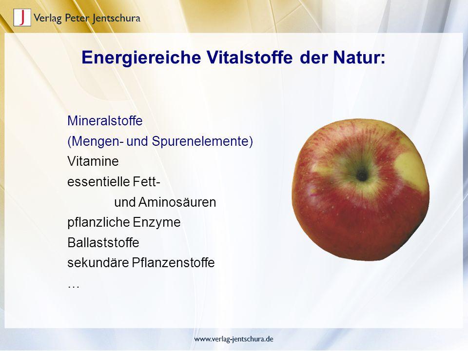 Energiereiche Vitalstoffe der Natur: Mineralstoffe (Mengen- und Spurenelemente) Vitamine essentielle Fett- und Aminosäuren pflanzliche Enzyme Ballasts