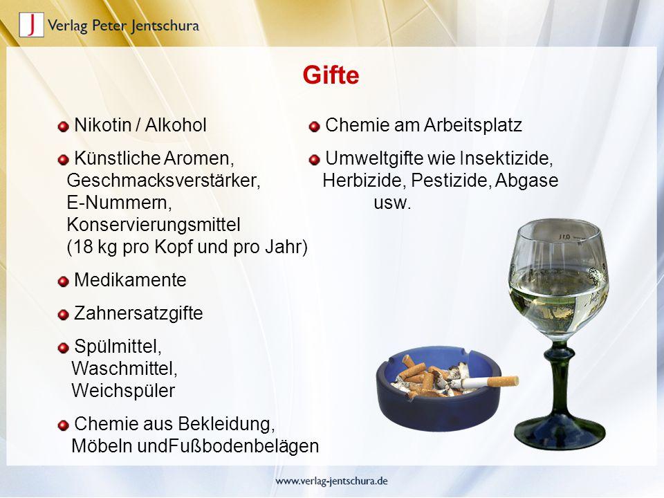 Nikotin / Alkohol Künstliche Aromen, Geschmacksverstärker, E-Nummern, Konservierungsmittel (18 kg pro Kopf und pro Jahr) Medikamente Zahnersatzgifte S