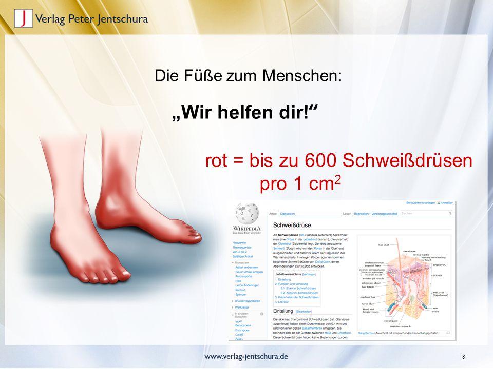 """8 """"Wir helfen dir!"""" Die Füße zum Menschen: rot = bis zu 600 Schweißdrüsen pro 1 cm 2"""