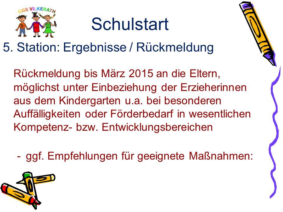Schulstart 4. Station: Anmeldung  Kennen lernen der Kinder bei der Schulanmeldung (Sprache/ Wahrnehmung/ Zahlenverständnis/ Pränumerik)  Schulärztli